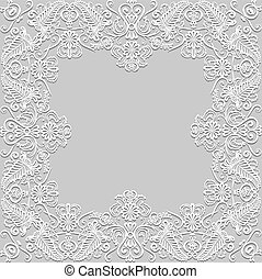 paper lace frame - White floral paper lace frame