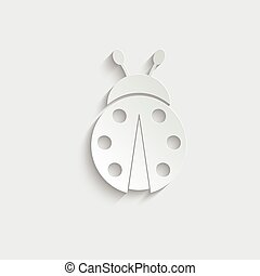 paper ladybug  icon black vector sign