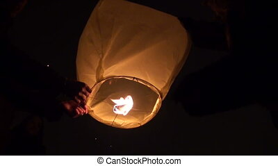 Paper light in the night sky