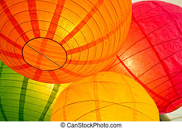 Paper lanterns - Group of paper lanterns hanging together