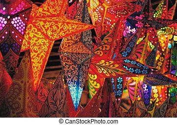 Paper Lanterns - Christmas decoration. Folding paper...