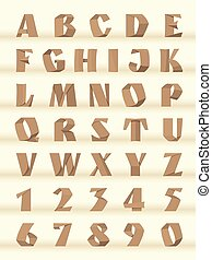 Paper letters and numbers of the alphabet.