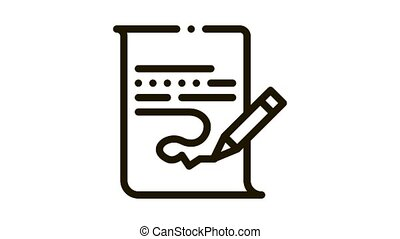 Paper List And Pencil Icon Animation. black Paper List And Pencil animated icon on white background