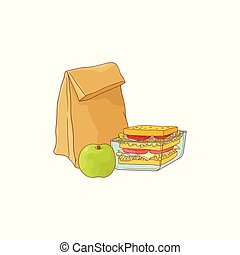 Paper lunch bag and sandwich in plastic container with apple for school or work break
