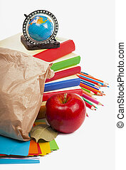 paper lunch bag with red apple