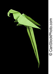 Paper made parrot black isolated