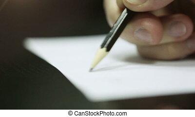 paper., main, morceau, écriture