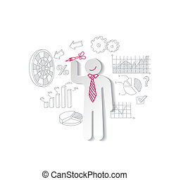 Paper man darts and business graphics. Marketing concept.