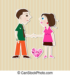 Paper Man, Woman, Heart on Cardboard Background