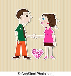 Paper Man, Woman, Heart on Cardboard Background