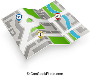 Paper map vector icon with color pointers.