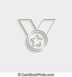 Paper Medal icon vector black vector