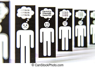 Paper men symbols thinking about the crisis, family, friends...