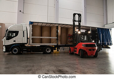Warehouse (paper) with forklift