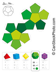 Paper model of a dodecahedron, one of five platonic solids, to make a three-dimensional handicraft work out of the green pentagon net. Below are all five with numbers of vertices, edges and faces.