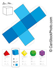Paper model of a cube or hexahedron, one of five platonic solids, to make a three-dimensional handicraft work out of the blue square net. Below are all five with numbers of vertices, edges and faces.