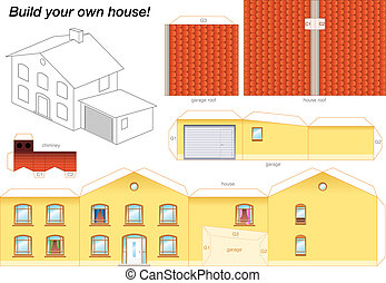 Paper model of a yellow house with garage - easy to make - print it on heavy paper, cut the pieces out, score and fold them and glue them together as depicted.