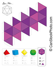 Paper Model Icosahedron - Paper model of an icosahedron, one...