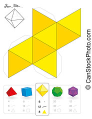 Paper model of an octahedron, one of five platonic solids, to make a three-dimensional handicraft work out of the yellow triangle net. Below are all five with numbers of vertices, edges and faces.