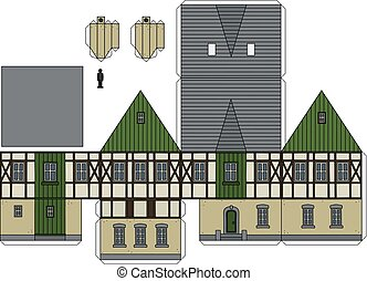 Paper model of an old half timbered house