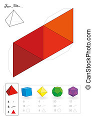 Paper model of an tetrahedron, one of five platonic solids, to make a three-dimensional handicraft work out of the red triangle net. Below are all five with numbers of vertices, edges and faces.
