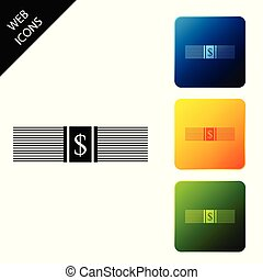 Paper money american dollars cash icon isolated. Money banknotes stack with dollar icon. Bill currency. Set icons colorful square buttons. Vector Illustration