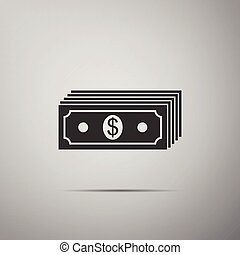Paper money american dollars cash icon isolated on grey background. Money banknotes stack with dollar icon. Bill currency. Flat design. Vector Illustration