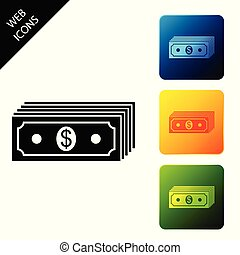 Paper money american dollars cash icon isolated on white background. Money banknotes stack with dollar icon. Bill currency. Set icons colorful square buttons. Vector Illustration