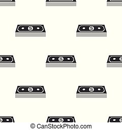 Paper money american dollars cash icon seamless pattern on white background. Money banknotes stack with dollar icon. Bill currency. Flat design. Vector Illustration