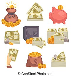 Paper money and money bag. Vector icon set - Paper money and...