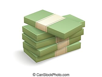 Paper money bundles pile of packs. Simple cartoon icon. Vector.