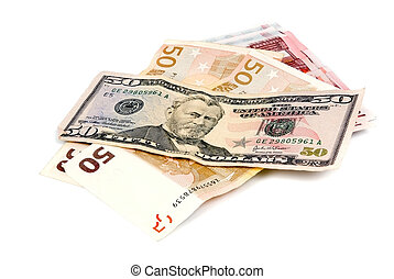 paper money on white background