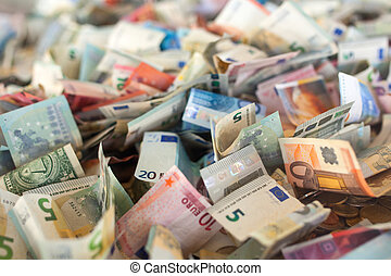 Paper money - View of many paper money inside the plexiglass...