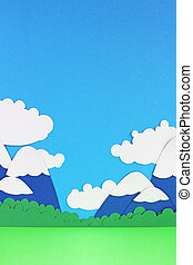 Paper mountain landscape