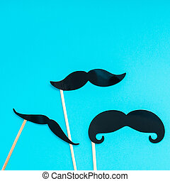 Paper moustaches for men fathers dad concept