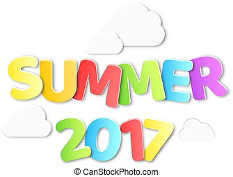 Paper multicolored text with the name summer 2017. Paper clouds on white background. Summer background. Vector illustration in a flat style