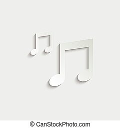 paper Musical note -  black vector icon