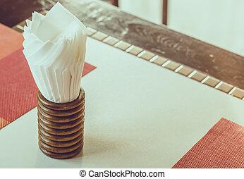 Paper Napkin on tableware