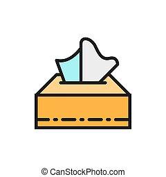 Paper napkins in box flat color line icon.