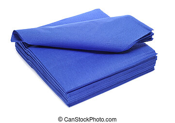 paper napkins - a pile of blue paper napkins on a white...