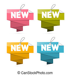 Paper New Tags Set, Labels Isolated on White Background