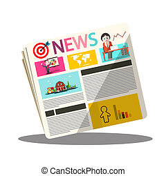 Paper Newspapers Vector Icon Isolated on White Background