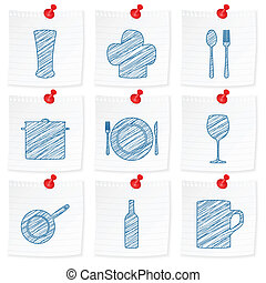 paper note and drawing kitchenware symbol