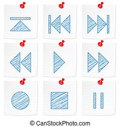 paper note and drawing media symbol