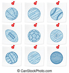 paper note and drawing sport ball