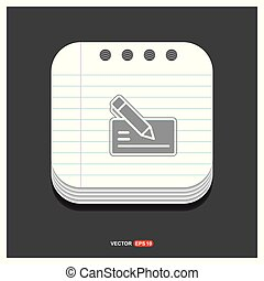 Paper note and pen icon Gray icon on Notepad Style template Vector EPS 10 Free Icon