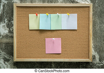 Paper note pin on cork board. Blank notes for add text message. sticker note