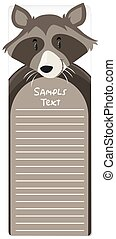 Paper note template with raccoon in background