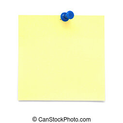 Blank yellow sticky note with push pin isolated on white background