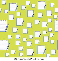 Paper Notebook and Blue Pen Seamless Pattern